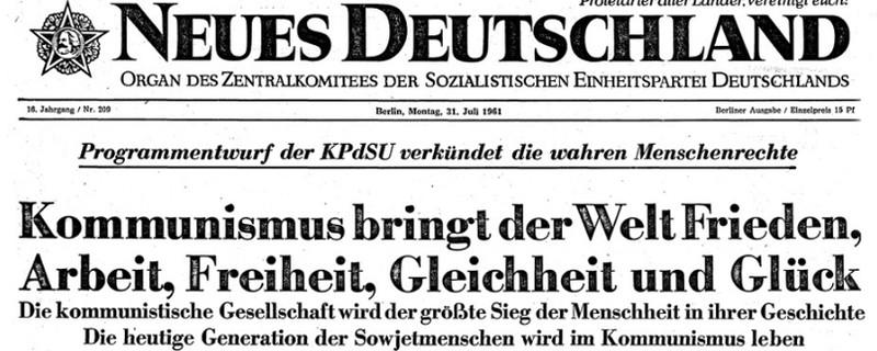 Ausschnitt der Zeitung Neues Deutschland von 1961, bereitgestellt durch die Staatsbibliothek zu Berlin