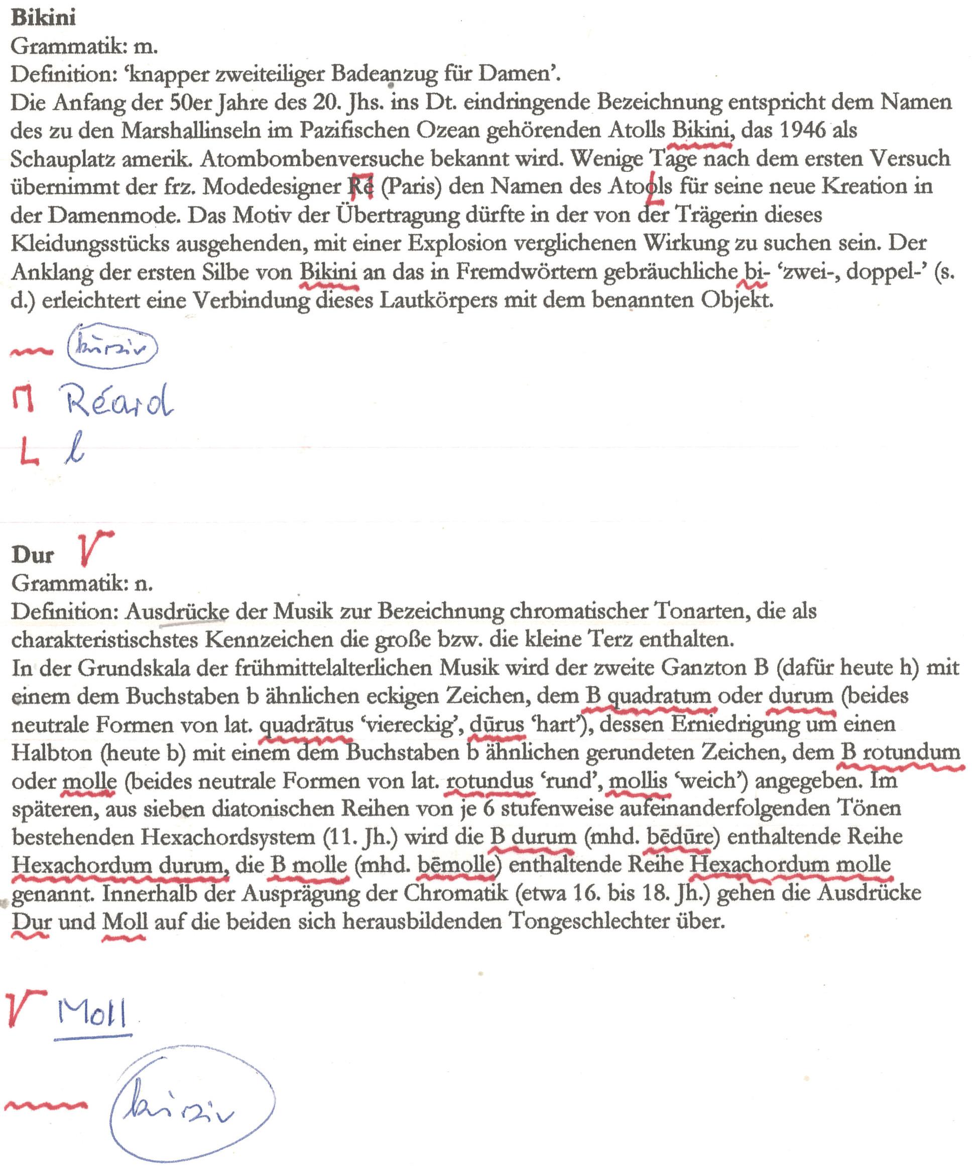 """Korrekturfahne von Wolfgang Pfeifers Hand zu den Artikel """"Bikini"""" und """"Dur"""""""