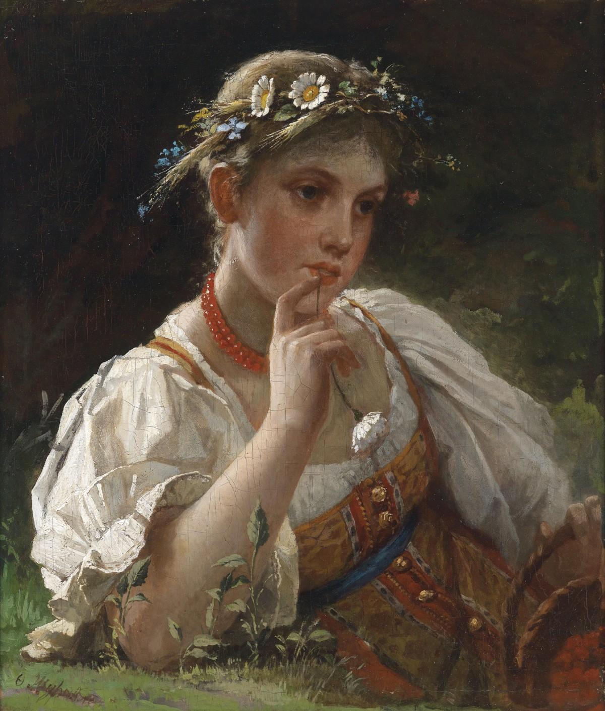 Bild einer jungen Dame mit Blütenkrone