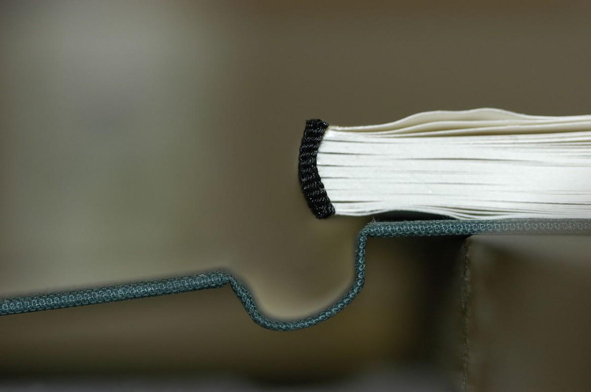 Noch nicht gebundenes Buch mit blau-grüner                     Buchdecke