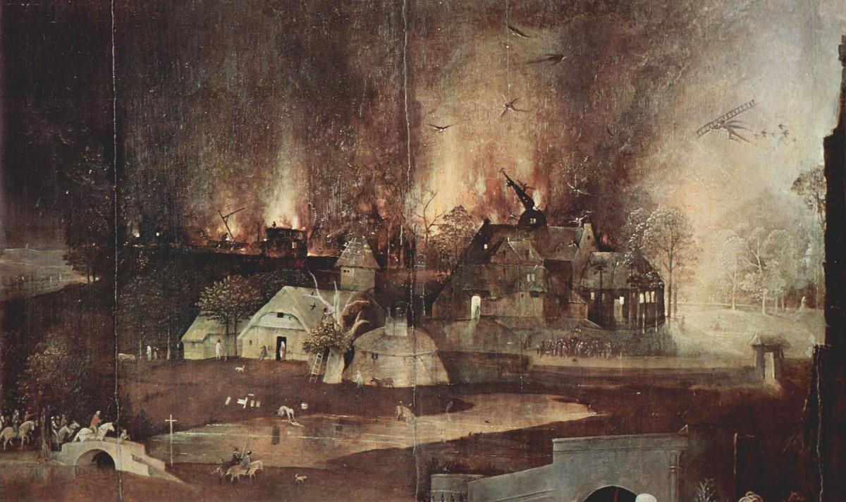 Ein Nachtstück. Die Szenerie wird nur vom künstlichen Licht des Feuers erhellt.