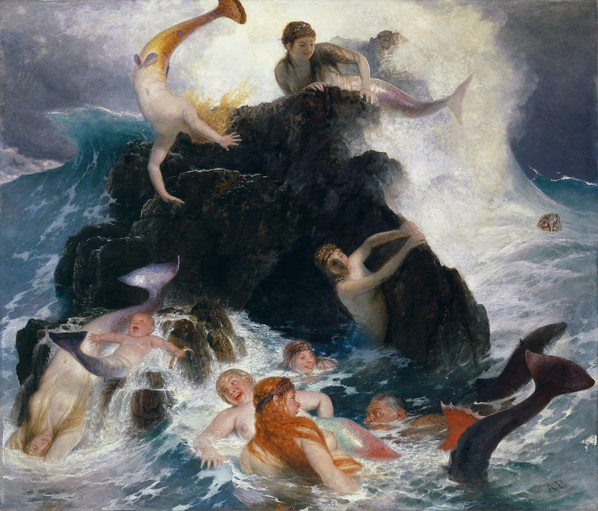 Najaden (Nymphen) auf einem Gemälde von Arnold                     Böcklin