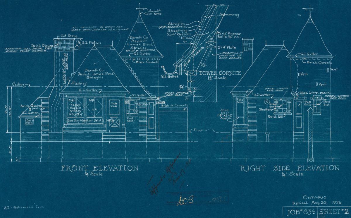 Werkzeichnung eines Hauses. Die eingezeichneten Maße und Winkel ermöglichen es, basierend auf der Werkzeichnung den Bau durchzuführen.