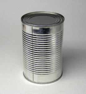 Dreiteilige Konservendose mit zur Versteifung gesicktem Dosenkörper (Zarge) und geschweißter Längsnaht