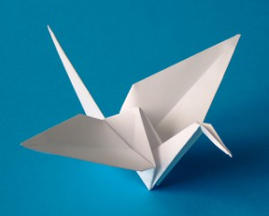 Origami in Form eines Kranichs