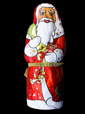 Weihnachtsmannfigur aus Schokolade