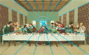 Leonardo da Vincis »Letztes Abendmahl« ist in der                     Zentralperspektive gemalt. Die eingezeichneten Perspektivlinien laufen alle auf                     den Projektionspunkt der Christusfigur zu.